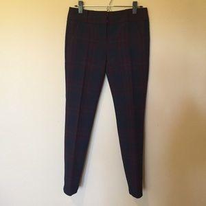 LOFT Pants - LOFT navy & red plaid Marisa skinny dress pant